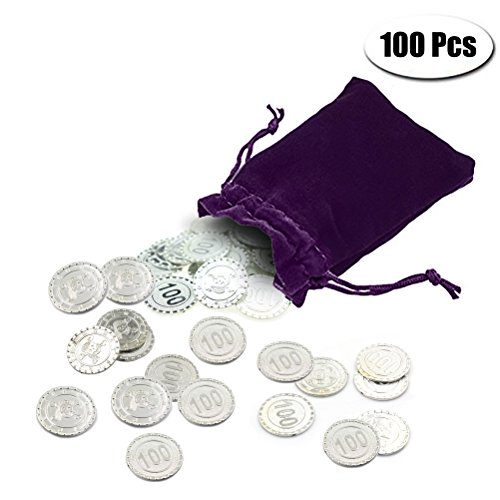PartyYeah 100 Pcs Plastic Fake Gold Coins & 1 Pc Purple Drawstring Storage Bag for Kids Hunt Play Party Favors (Silver, Coins+Drawstring bag) (Gold Silver Coin)