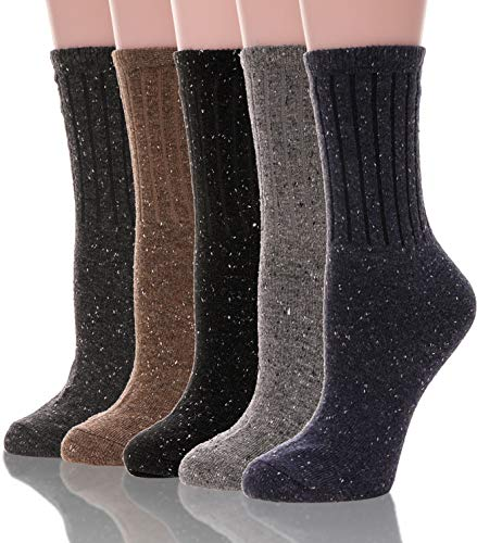 Womens Wool Socks Warm Knit Comfort Cotton Work Duty Boot Winter Socks For Cold Weather 5 Pack (Solid Color-Stripes)