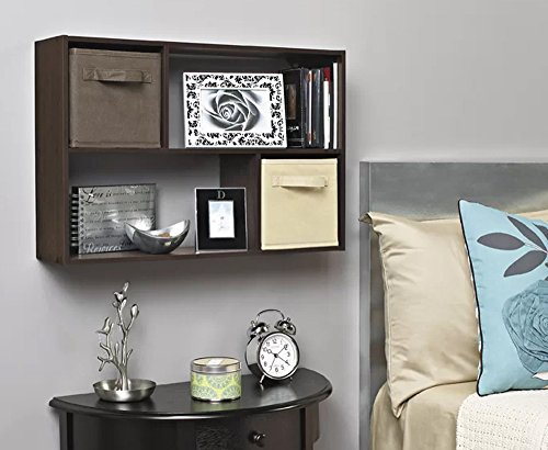 J&M Wall Mounted 4-Shelf Storage Organizer Espresso Wood Display Unit For Storing Books And Displaying Items by J&M (Image #2)