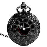 Classic Vintage Double Display Roman Numerals Design Case for Quartz Pocket Watch With Chain(Black, Pack Gift Box 1)