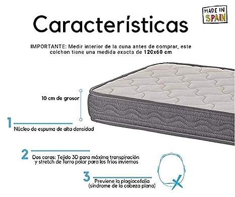 Colchon espuma 120x60 cm Alta densidad Dos Caras Invierno-Verano Transpirable Desenfundable Fabricado en España Varias Medidas (120x60 cm)
