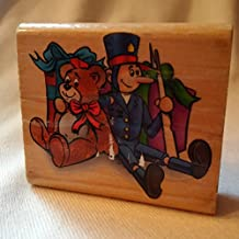 Toy Soldier and Teddy Bear Christmas Wood Stamp, Christmas Ink Stamp