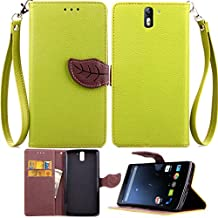 OnePlus One Case,OnePlus One Phone Case,Gift_Source Brand [Kickstand Feature] Premium Pu Leather[Wallet Feature] Type Magnet Flip Case Protective Credit Card Holder [Ultra Slim] Pouch Skin Case Cover for OnePlus One Case , Luxury Colorful Cute leaf [Green]