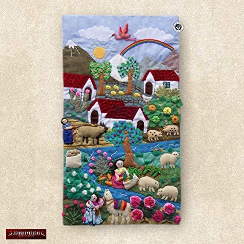 "Wall Hanging Quilt 17.7""x10""- Arpillera art work tapestrie - 3D peru textiles - Patchwork - Embroidered appliques of fabric - Peruvian wall art"