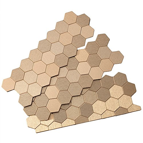 Aspect Peel and Stick Backsplash 11in x 4in Honeycomb Champagne Matted Metal Tile for Kitchen and Bathrooms (approx. 15 sq ft Kit) by Aspect