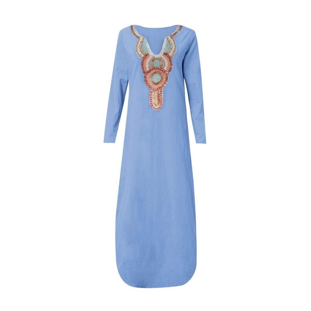 Maxi Dresses for Women Summer~Hotsell〔☀ㄥ☀〕Ladies Bohemian Print V-Neck Sleeveless//Long Sleeve Cotton Linen Dresses for Women Column Maxi Dress for Women Plus Size 8-18 UK
