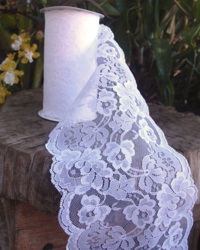 """5.5"""" wide x 10 yards White Floral Pattern Lace Ribbon for Decorating, Floral Designing and Crafts"""