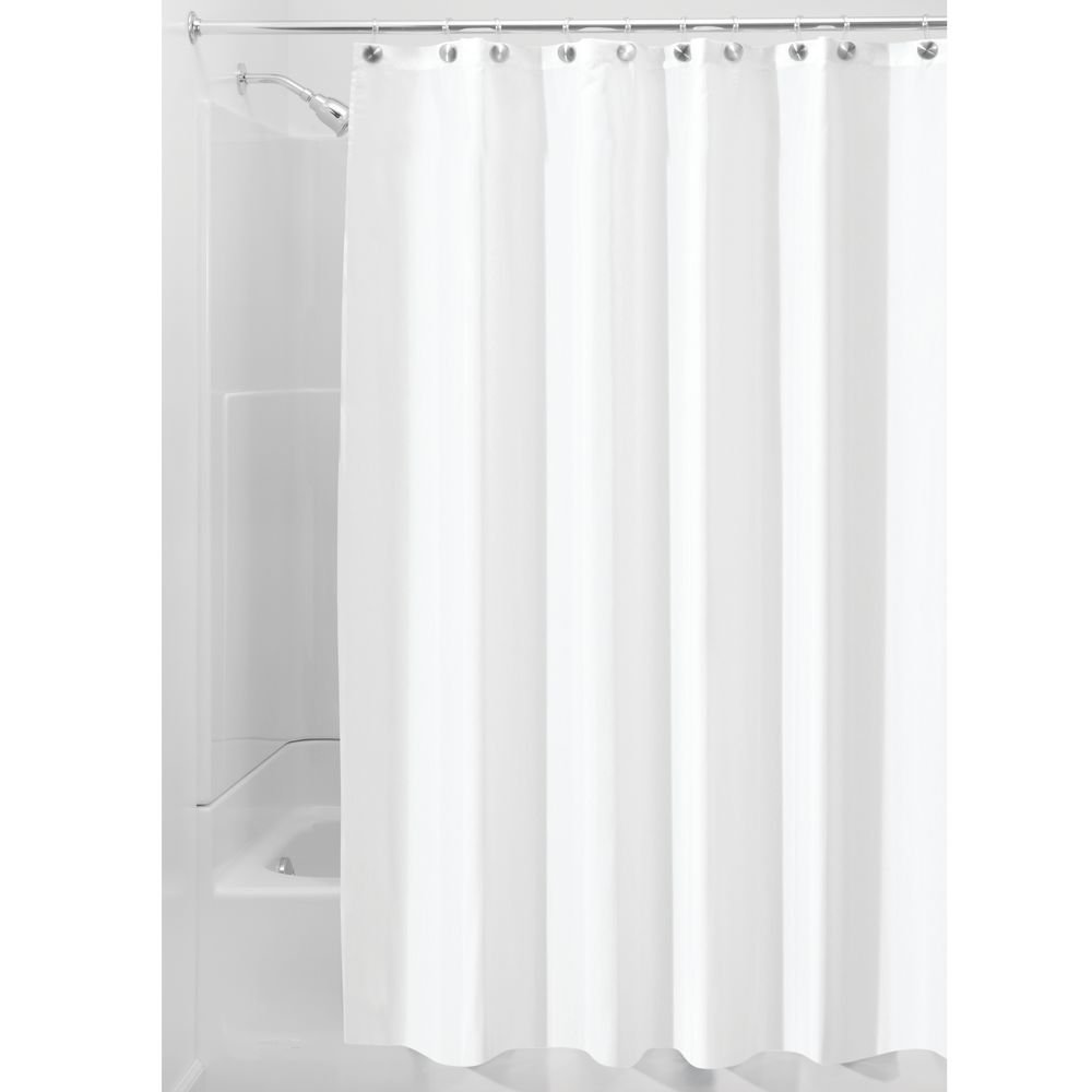 InterDesign Waterproof Mold and Mildew-Resistant Fabric Shower Curtain, 72-Inch by 84-Inch, White