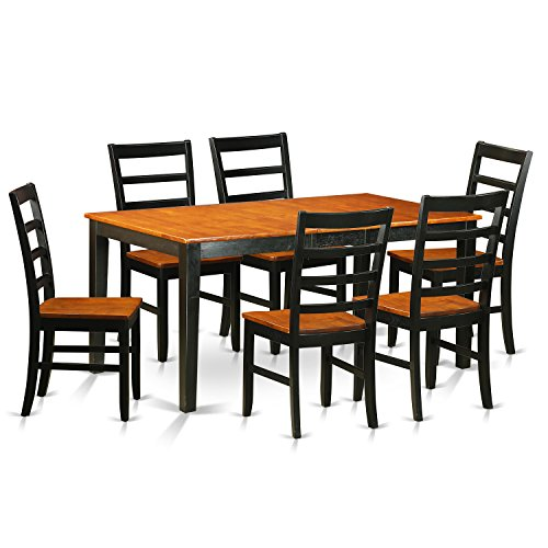 East West Furniture NIPF7-BCH-W 7 Piece Dining Table and 6 Chairs Set
