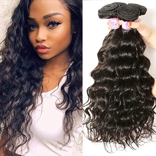 Beauty Forever 10A grade Brazilian Natural Wave Hair 3 Bundles Unprocessed Virgin Human Hair Extensions Weave Natural Color (16 18 20)
