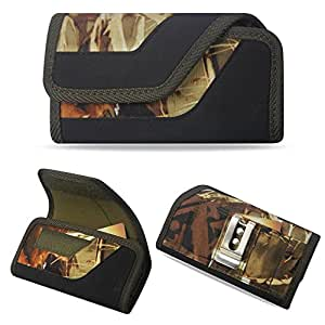 Camouflage Rugged Wallet Extra Pocket Carry Case with Velcro Closure and Belt Loop fits Zte Majesty