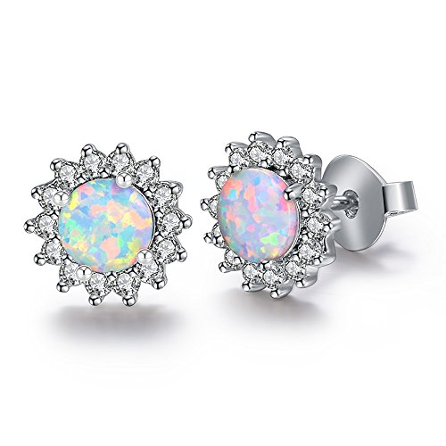 DwearBeauty White Gold Plated Stud Cubic Zirconia and Opal Earrings (Flower-Shape White (White Opal Flower)