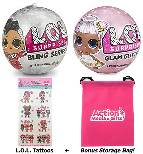 LOL Surprise Dolls Holiday Bundle - (1) Bling Series + (1) Limited Edition Glitter Glam + (8) L.O.L. Tattoos with Compatible Toy Storage -