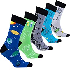 Men's Dress socks series with Gift Box. 5 pairs. New Designs; Colorful Argyle, Fun Stripes, Cool Dotted and Modern Patterned Socks. Made in Turkey with premium quality Turkish Cotton for premium comfort.