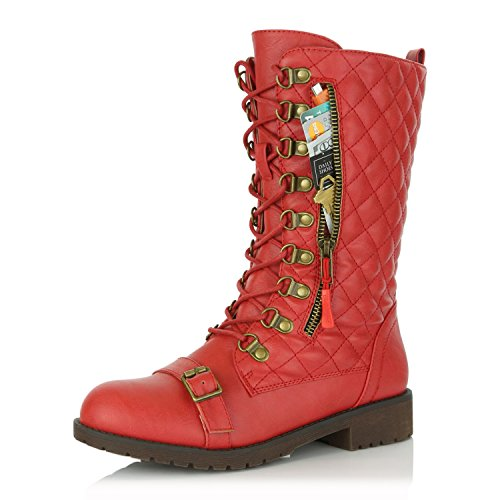 DailyShoes Women's Lace up Buckle Combat Mid Ankle Pocket Buckle Strap Boots Red Pu