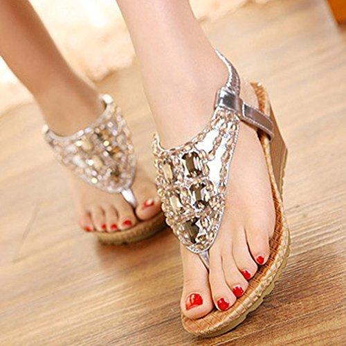 Xianshu Femmes Round Peep Clip Toe Plateforme Talon Talon Strass Élastique T-Strap Bohême Roman Sandales Tongs Chaussures Tongs Or ek58q4
