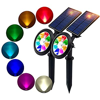 BOHON Solar Lights Outdoor - Ultra Bright, Waterproof, 9 LEDs Multi Color Spot Light with Auto On/Off, Solar Garden Light for Landscape Lighting Yard Patio Pathway (Changing & Fixed Color 2Pack)