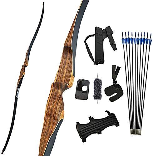 SHARROW10~30LBS  52インチ  初心者なロングボウ  リカーブボウ   狩猟弓 弓道練習専用弓  矢筒 右利きリカーブボウ アーチェリーアウトドア   弓道具 ボウセット 30LBS