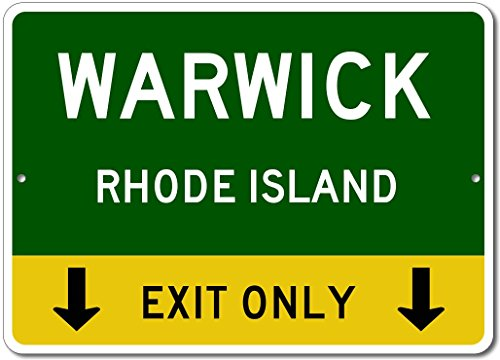 WARWICK, RHODE ISLAND This Exit Only - Custom Aluminum US City State Sign - - Warwick Shops