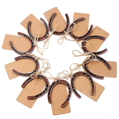 Yansanido 20pcs Lucky Horseshoes Wedding Favors Horse Shoes for Decorating and Crafts W/Collectible Token with Kraft Tags (Horseshoes Red Copper -