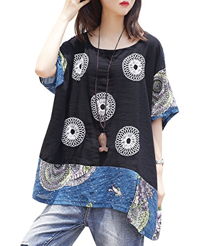 ELLAZHU Women Summer Patchwork Print Bat Wing Sleeves Plus Size T-shirt GA1011 Blue Wing Print Tee