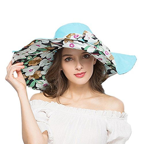 (RIONA Women's Foldable Floppy Reversible Wide Brim Sun Beach Hat with Bowknot UPF 50+)