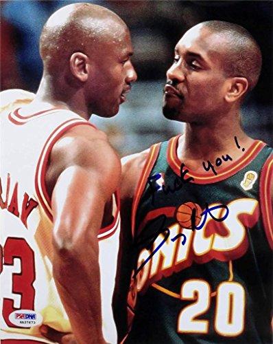 Gary Payton Signed F*CK YOU Michael Jordan 8x10 Photo PSA/DNA COA Auto Sonics ()
