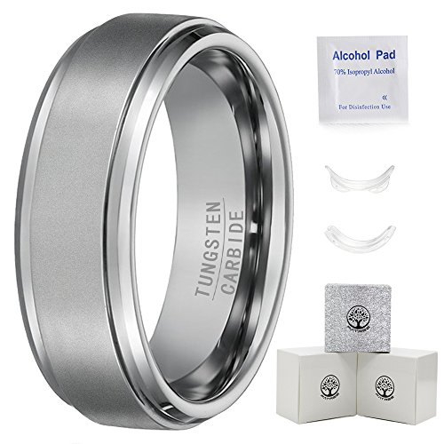 Tungsten Rings for Men Wedding Bands for Him 7mm Men Rings Men's Tungsten Carbide Ring Matte Finish by Fatree