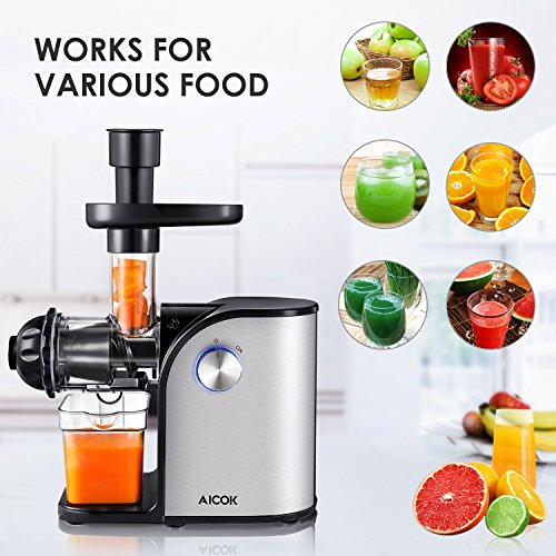 Aicok Slow Masticating juicer, Cold Press Juice Extractor, Stainless Steel, Quiet Motor, High Nutrient Fruit and Vegetable Juice, Black by AICOK (Image #1)