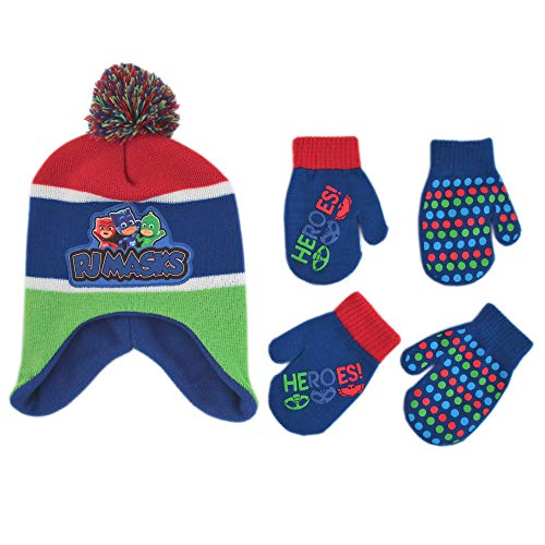 PJ Masks Hat and 2 Pair Mitten or Gloves Cold Weather Set, Little Boys, Age 2-7 (Toddler Boys Ages 2-4 Mittens Set)