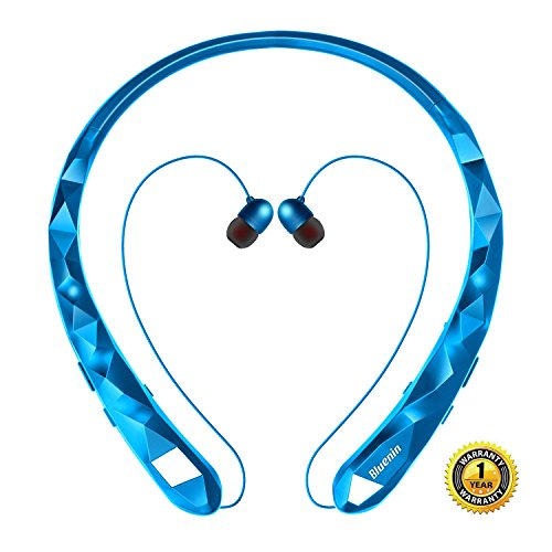 Bluetooth Headphones Bluenin Wireless Headphones Neckband Retractable Earbuds Noise Cancelling Stereo Headset Sport Sweatproof Earphones with Mic (Blue)
