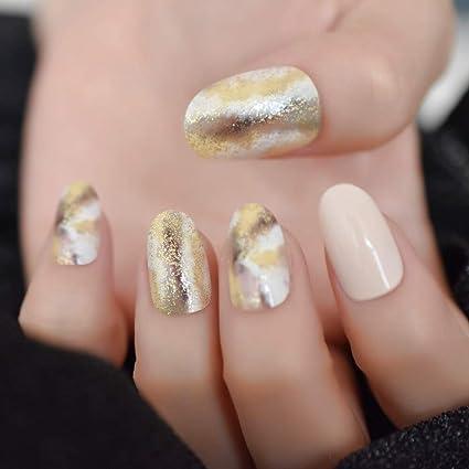 EchiQ - Extensiones de uñas postizas ovaladas de mármol con ...