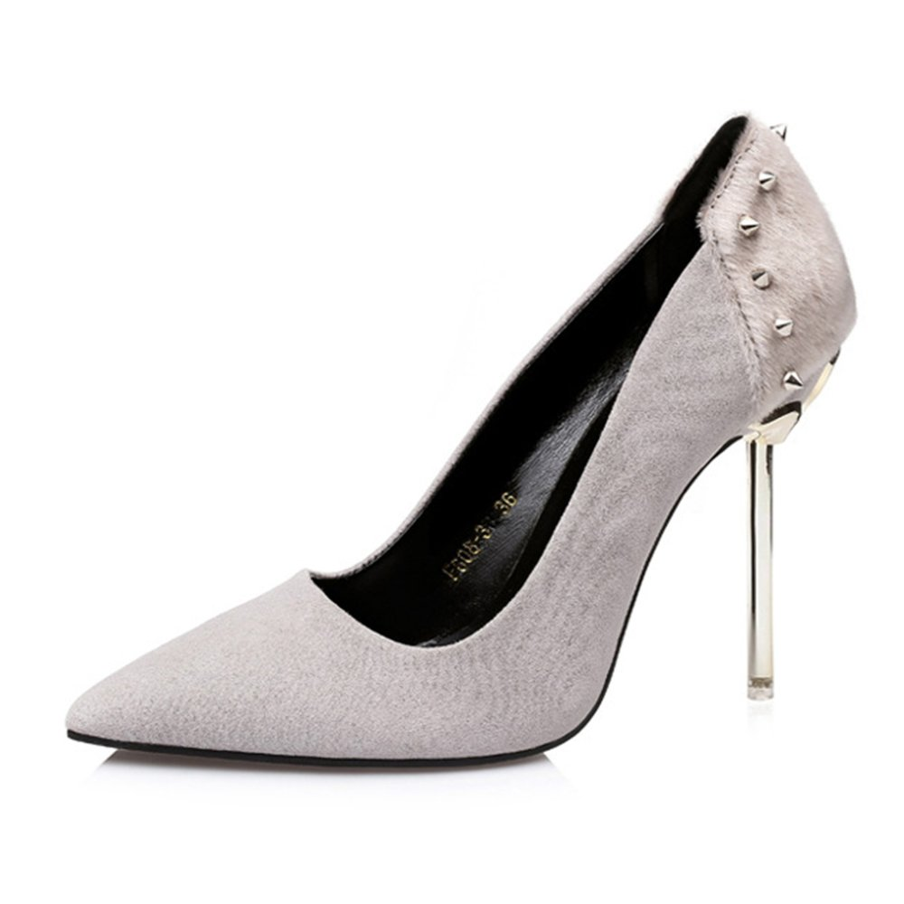 Mode Nieten Closed Toe Pumps Flach High Heels Stiletto Schuhe Abendkleid Gericht Schuhe Sandalen  EU:39/UK:6.5|Grey