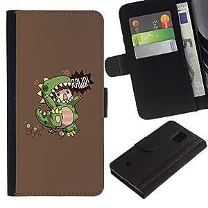 Billetera de Cuero Caso Titular de la tarjeta Carcasa Funda para Samsung Galaxy S5 Mini, SM-G800, NOT S5 REGULAR! / Children'S Dinosaur Monster Mother / STRONG