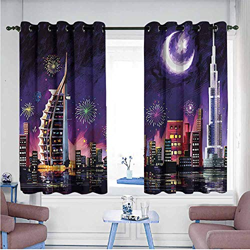 Mdxizc Exquisite Curtain Landscape Night Dubai Skyscraper Children's Bedroom Curtain W55 xL45 Suitable for Bedroom,Living,Room,Study, etc. (Furniture Dubai Contemporary Garden)