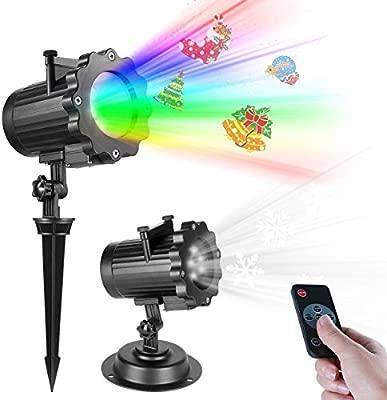 LED Proyector Luces de Navidad, Impermeable Multicolor Lámpara de Proyección, Luces del Paisaje con Wireless Control Remoto, Proyector de Copo de ...
