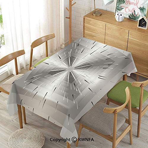 (Homenon Tablecloth for Dining Room for Rectangle Tables,Nested Squares with Ombre Lines Optical Illusion Deep Perspective Modern Design Decorative,Waterproof Wrinkle Resistant,Dimgray Black,55