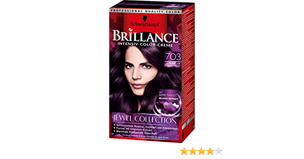Brillance - Crema de color intenso 703, amatista oscuro, Jewel Collection, envase de 3 unidades (3 x 143 ml)