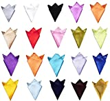 Glittermall Pack of 20pcs Men's Solid Mixed Color Pocket Squares Hanky Handkerchief Accessories