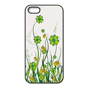 [H-DIY CASE] For Apple Iphone 5 5S -Green Lucky Clover-CASE-20