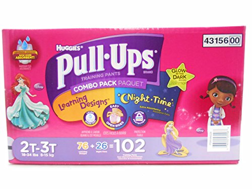Pull-Ups Training Pants with Learning Designs & Night Time Combo Pack for Girls, 2T-3T, (76+26) 102 Count (Packaging May Vary)