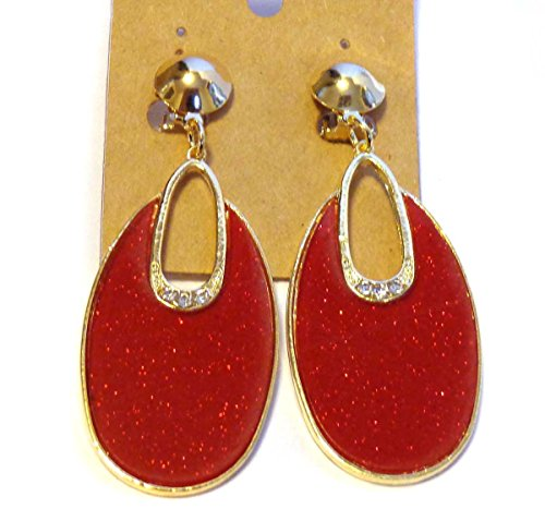 Crystal Hoop Dangle Clip (Clip-on Earrings Oval Hoop Dangle Bright Red Clip Earrings)