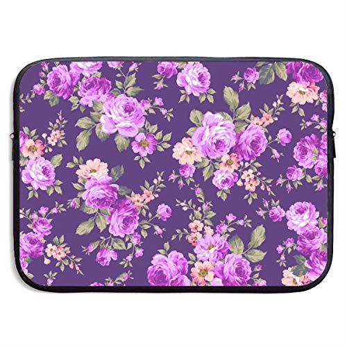 LiaanQianga Rose Flower Pattern 13-15 Inch Laptop Sleeve Bag - Tablet Clutch Carrying Case,Water Resistant, Black