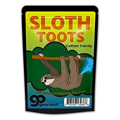 GearsOut Sloth Toots Cotton Candy Gags for Teens Weird Stocking Stuffers Cute Sloth Funny Blue Gluten Free Candy White Elephant Idea Secret Santa Easter Valentine's Day for Kids Teens Adults: Toys & Games