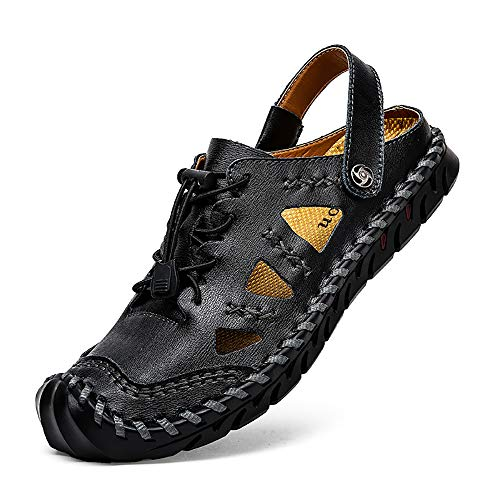 Mens Outdoor Sandals Hiking Camping Sandals Genuine Leather Fisherman Shoes(Black-us13)