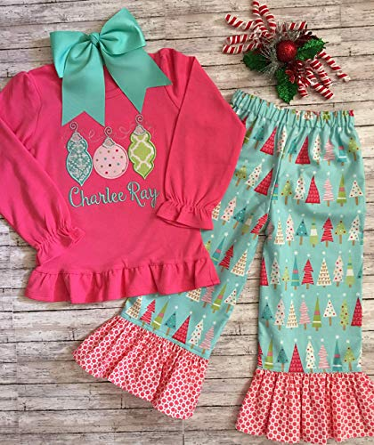 Girl Christmas Outift, Ornament Applique Top and Pants, Girls Holiday Outfit, Christmas Ruffle Pants -