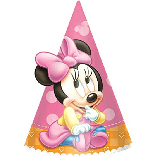 Minnie Mouse 1st Birthday Party Hats 8 Ct. (Minnie Outfit)