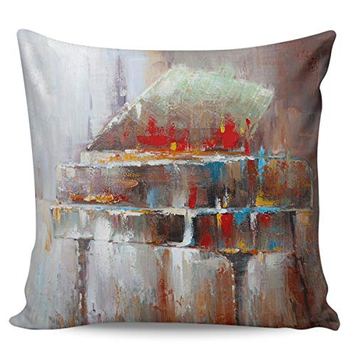OUR WINGS Art Colorful Piano Decorative Square Throw Pillow Covers Cushion Case for Home Sofa Bedroom Office Car 24