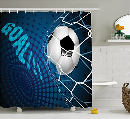 Ambesonne Soccer Shower Curtain, Goal Football Flying into Net Abstract Dots Pattern Background European Sport, Fabric Bathroom Decor Set with Hooks, 84 inches Extra Long, Blue Black White by Ambesonne