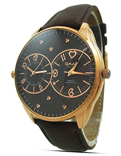 Online Soko Omax para hombre reloj con correa de piel color marrón rosa borde dorado analógico